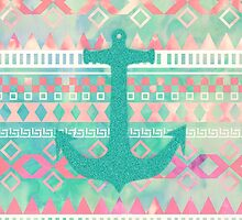 Emerald Nautical Anchor Pastel Watercolor Aztec by GirlyTrend