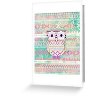Whimsical Tribal Owl Pastel Girly Tie Dye Aztec Greeting Card