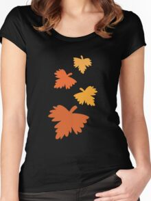 4 fall autumn leaves Women's Fitted Scoop T-Shirt