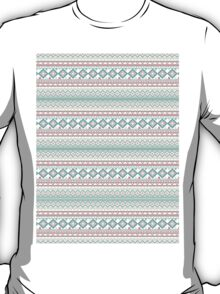 Trendy Mod Bright Teal Pink Abstract Aztec Pattern  T-Shirt