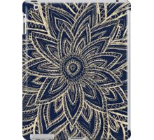 Cute Retro Gold abstract Flower Drawing on Black iPad Case/Skin