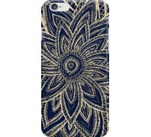 Cute Retro Gold abstract Flower Drawing on Black iPhone Case/Skin