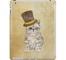 Funny Cute Kitten Cat Sketch Monocle and Top Hat iPad Case/Skin