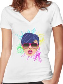 Pink Sunglasses Women's Fitted V-Neck T-Shirt