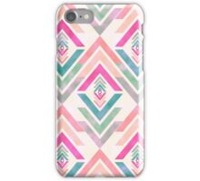 Girly Pink Turquoise Abstract Diamond Triangles iPhone Case/Skin