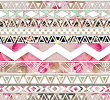 Girly Pink White Floral Abstract Aztec Pattern by GirlyTrend