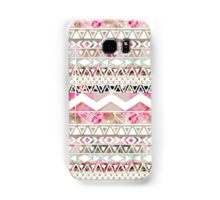 Girly Pink White Floral Abstract Aztec Pattern Samsung Galaxy Case/Skin