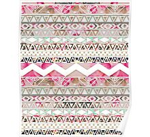 Girly Pink White Floral Abstract Aztec Pattern Poster
