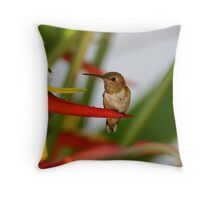 Red Heliconia Hummingbird Throw Pillow