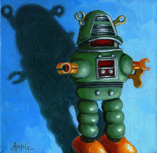 Robot Dream- fantasy still life painting by LindaAppleArt