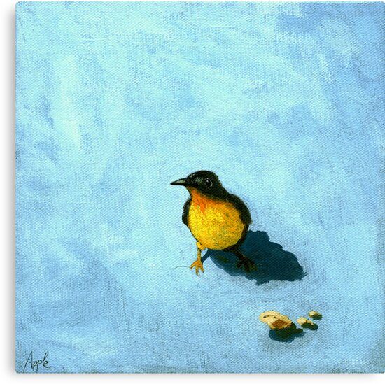 Crumbs - Animal Portrait - oil painting by LindaAppleArt