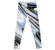 Grey and Black Metal Marbling Effect Abstract Leggings