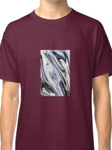 Grey and Black Metal Marbling Effect Abstract Classic T-Shirt
