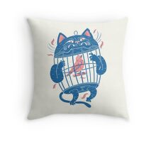 The Cat-Cage Throw Pillow