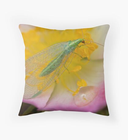 Green Insect Throw Pillow
