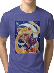 Pop Surrealism Sailor Moon and Luna Fan Art Tri-blend T-Shirt