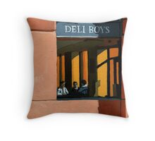 Deli Boys - people oil painting Throw Pillow