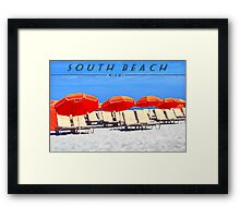 South Beach Travel Poster - Umbrellas Framed Print