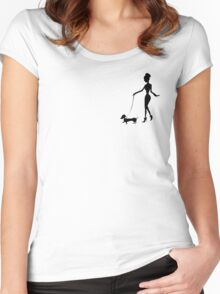 Flaunting The Pooch (teal) Women's Fitted Scoop T-Shirt