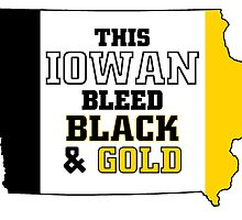 this iowan bleed black and gold by teeshoppy