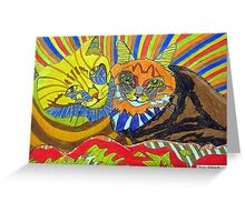 261 - TWO COOL CATS - DAVE EDWARDS - COLOURED PENCILS - 2009   Greeting Card
