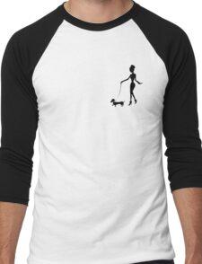 Flaunting The Pooch (peach) - Dachshund Sausage Dog Men's Baseball ¾ T-Shirt