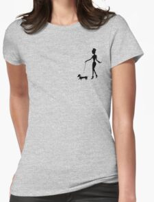 Flaunting The Pooch (peach) Womens Fitted T-Shirt