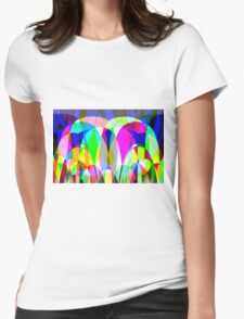 bubbles with blue background Womens Fitted T-Shirt