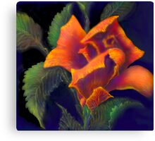 'Orange Delight' Digital Rose Painting, Baroque Roses Canvas Print