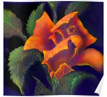 'Orange Delight' Digital Rose Painting, Baroque Roses Poster