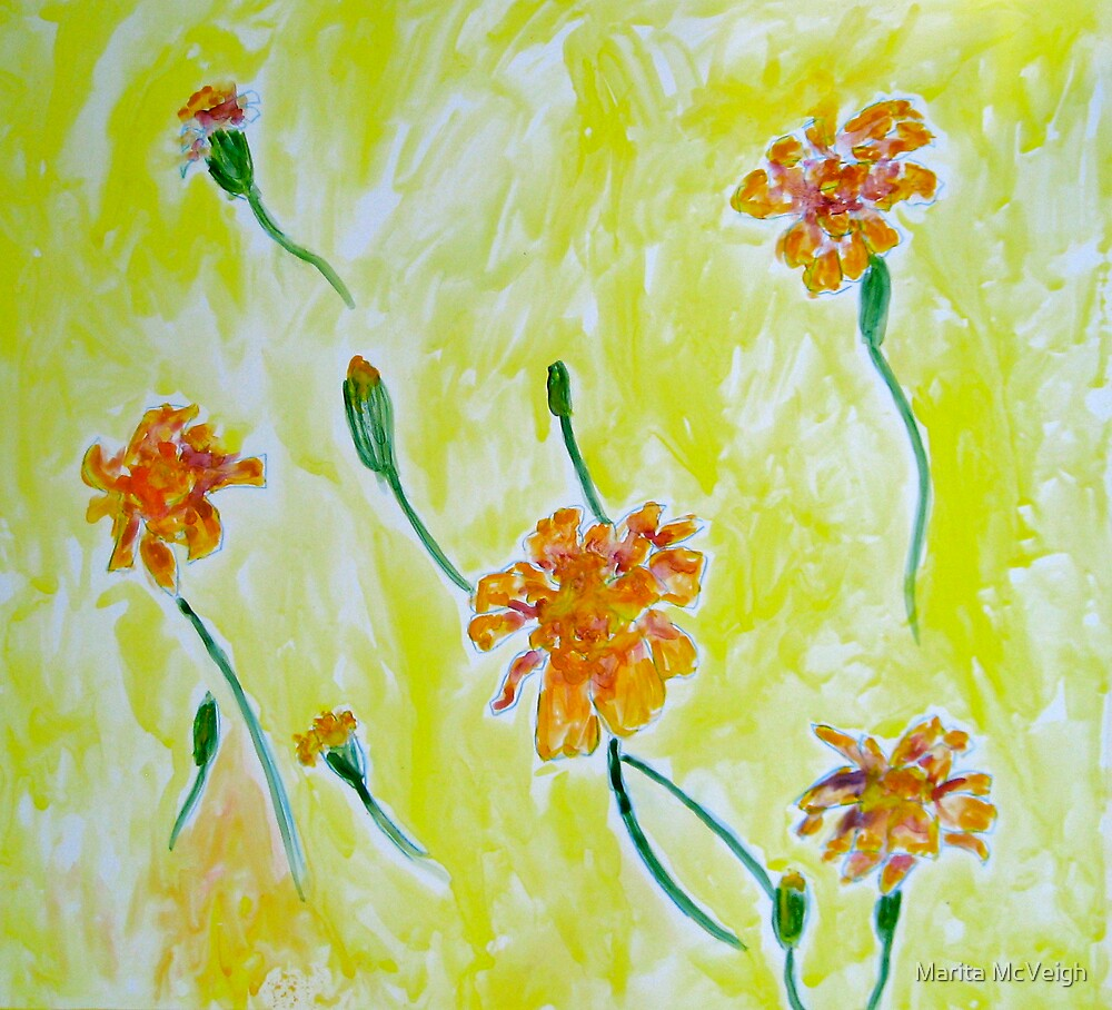 Floating Marigolds by Marita McVeigh