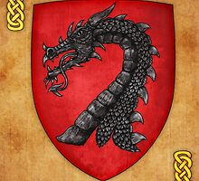 Gules A Dragon's Head Erased Sable by Cleave