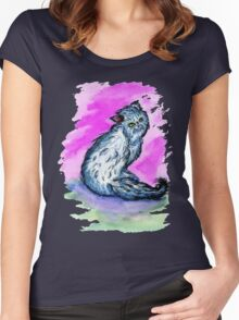 Persian Cat Watercolor Women's Fitted Scoop T-Shirt