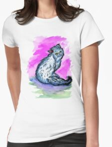 Persian Cat Watercolor Womens Fitted T-Shirt