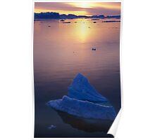 Sunset Bergs, Antarctica Poster