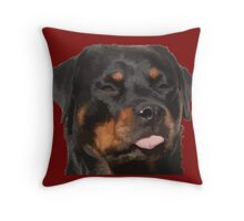 Cute Rottweiler With Tongue Out Throw Pillow