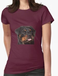 Cute Rottweiler With Tongue Out Womens Fitted T-Shirt