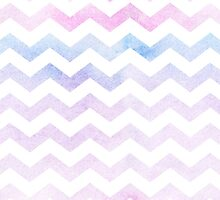 Watercolor Chevron Patterns Pink and Blue  by linepush