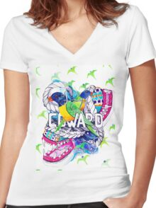 COWARD! Women's Fitted V-Neck T-Shirt