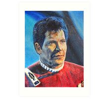 Shatner as Kirk in colored pencil  Art Print