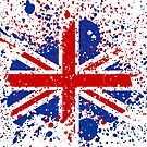 UK Union Jack Splash Colors Flag by CroDesign