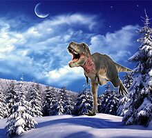 Dinosaur in the snow by altava