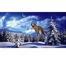 Dinosaur in the snow Photographic Print