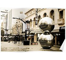 Silver Balls in Rundle Mall, Adelaide, South Australia Poster