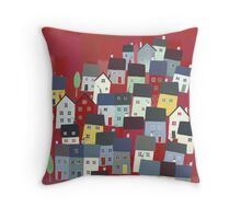 Red village Throw Pillow