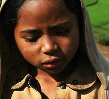Hoodie Wearing Child, Shy Malagasy Girl, Madagascar by Jane McDougall