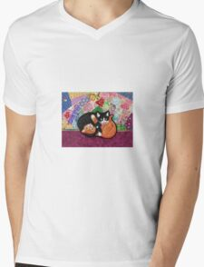 Kittens Playing On Heirloom Quilt Mens V-Neck T-Shirt