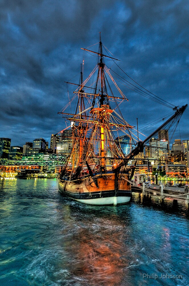 Ghost Ship - HMB Endeavour, Australian National Maritime Museum, Sydney - The HDR Experience by Philip Johnson