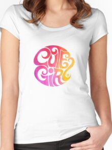 Cute Girl Women's Fitted Scoop T-Shirt