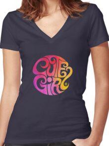 Cute Girl Women's Fitted V-Neck T-Shirt